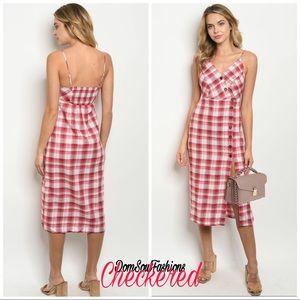 Side button Side Split knee length Plaid Dress